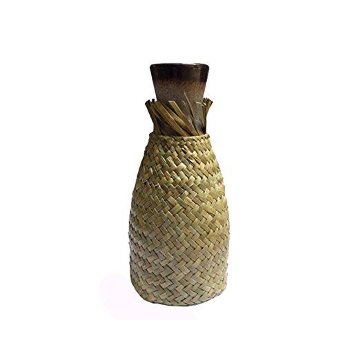 westeng Vase, Vase Keramik Vase aus Rattan, Stroh gewebt von Hand, Seaweed Blume Gewebt Gerät Bestimmung