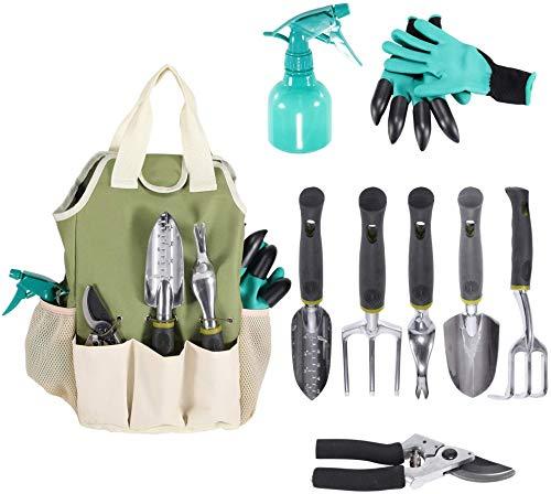 Garden Tool Set | Garden Tools Kit | Gardening Gloves | 9 Piece Garden Tool Set | Digging Claw Gardening Gloves Gardening Gifts Tool Set | Planting Tools | Gardening Supplies Basket | Rake Gloves