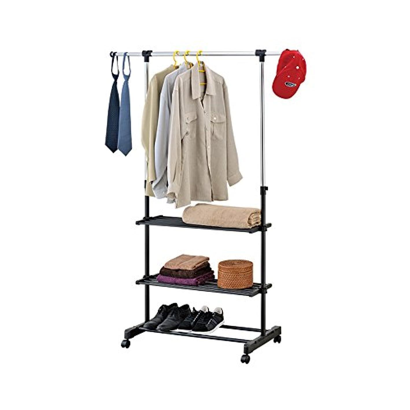 Mind Reader Rolling Garment Rack with 3 Shelves, Silver/Black