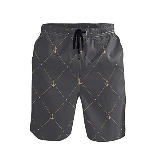 Emoya Herren Strand-Shorts, Badehose, goldene Anker-Linie, gepunktet, schnell trocknend, Badeanzug, Freizeit, Surfhose, mit Tasche Gr. Verschiedene Größen, mehrfarbig