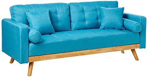 Divano Roma Furniture Madison Sofas, Light Blue