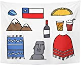 Tapiz de pared Tapiz de bebida de país chileno Doodle Chile...