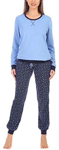 Merry Style Damen Schlafanzug MS10-168(Blau Sterne, M)