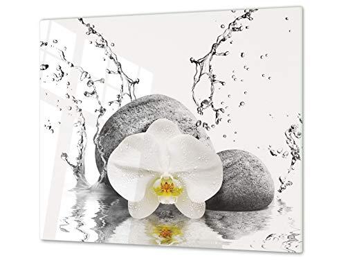 Concept Crystal ASSE da Cucina in Vetro temperato – Tagliere in Vetro – Pezzo Unico (60x52 cm) o Due Pezzi (30x52 cm ognuno); D06 Serie Fiori: Orchidea 4