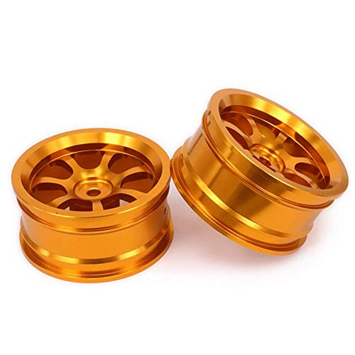 Lishaodonglishaodon 2pcs HUB RC Piezas DE Coches Rueda DE Aluminio 4PC D: 52mm W: 26mm para HSP HPI 1/10 On-Road Drift 107P Herramienta (Color : Gold)