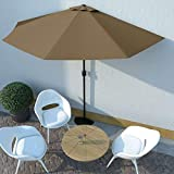 Wakects - Sombrilla de jardín y playa con varillas de acero + palo de aluminio para jardín, balcón, terraza, 300 x 150 x 253 cm