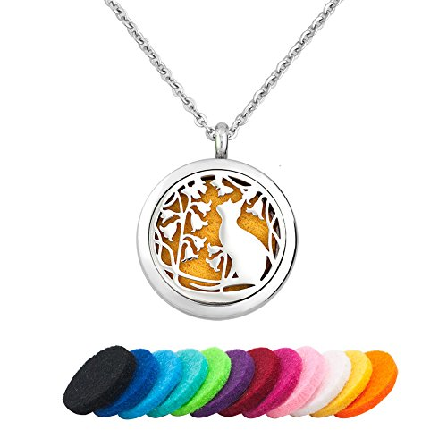 CoolJewelry Essential Oil Diffuser Necklace Aromatherapy Love Cat Paws Locket Animal Pendant with 12 Refill Pads
