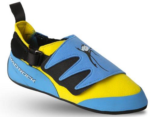 Mad Rock Mad Monkey Kids Climbing Shoe with Free Sickle M-16 Climbing Brush (Kids 13, Blue/Yellow)
