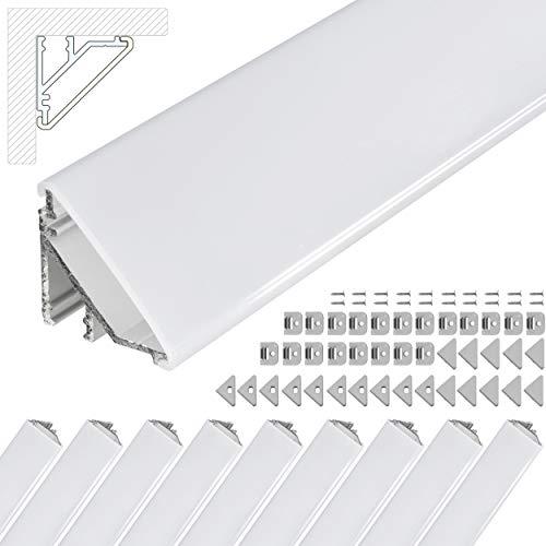 LED Eckprofil V24, Set 10m (10x1m) LED Alu Profile 45 Grad Ecke Aluminium für LEDs Strip als Streifen Lichtleiste