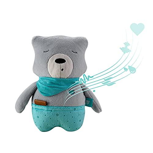 myHummy Aide à l'endormissement pour bébés Lucas Gris | Bruits du Coeur et Autres bruits Blancs pour aipaisement | S'éteint automatiquement, capteur de Sommeil