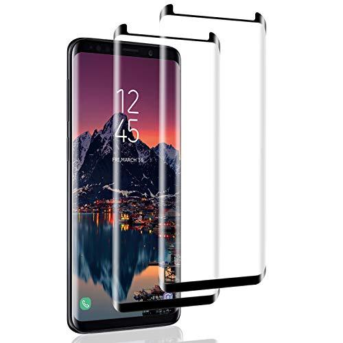 Mriaiz Verre Trempé pour Galaxy S9 Plus, [2 Pièces] [Full Coverage] [Anti Rayures] [Ultra Claire] [Dureté 9H] Film Protecteur en Verre Trempé de Haute qualité pour Samsung Galaxy S9 Plus