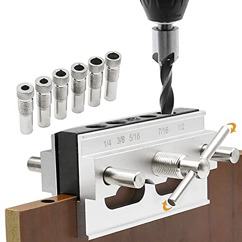 SurmountWay Self Centering Dowel Jig Professional Wide Capacity Wood Dowel Hole Drilling Guide Woodworking Joints Tool,Self Centering Wood Doweling Jig Kit with 6 Drill Guide Bushings