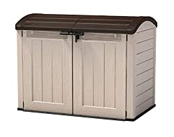 Ideal outdoor storage solution for garden tools and equipment, BBQ and accessories, bicycles and x2 360 Litre or three 120 Litre wheelie bins Elegant wood affect panels with a piston-assisted lid and wide opening doors and a 2000 Litre capacity Opens...