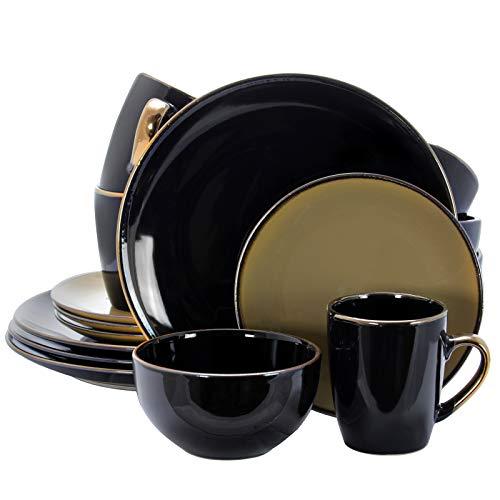 Elama Juego de vajilla redonda de gres Grand Collection de 16 piezas, color negro y gris pardo cálido