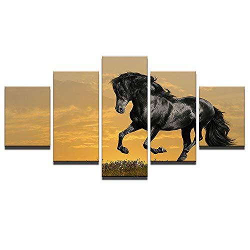 Impresión De Imagen Decoración Del Hogar, Pintura Al Óleo De Inyección De Tinta, Pintura De Animales, Caballo Negro, Imagen De Carrera, 5 Carteles Combinados-B-Con Frame_150X80Cm