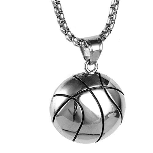 PAURO Herren Edelstahl Basketball Sport Halskette AnhäNger mit Kette