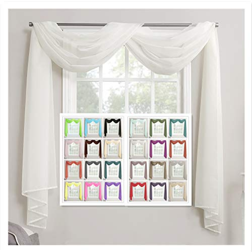 """Megachest Fensterschal aus Voile, maßgeschneidert, gebrochenes weiß, 57""""X118""""(145cmX300cm)"""