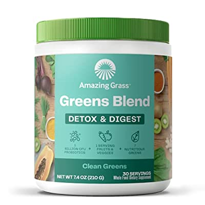 Amazing Grass Greens Blend Detox & Digest: Cleanse with Super Greens Powder, Digestive Enzymes & Probiotics, Clean Green, 30 Servings (Packaging May Vary) by Amazing Grass