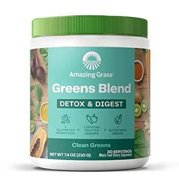 Amazing Grass Greens Blend Detox & Digest  Cleanse with Super Greens Powder Digestive Enzymes & Probiotics Clean Green 30 Servings  Packaging May Vary