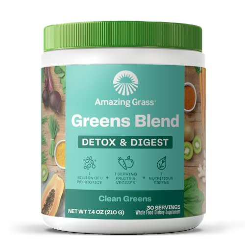 Amazing Grass Greens Blend Detox & Digest: Cleanse with Super Greens Powder, Digestive Enzymes & Probiotics, Clean Green, 30 Servings (Packaging May Vary)