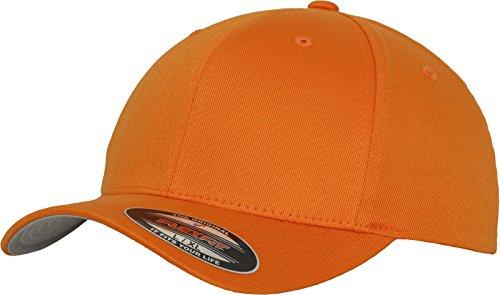 Flexfit Unisex Wooly Combed Unisex Kappe ohne Verschluss für Herren, Damen und Kinder Wooly Combed Baseball Cap, orange, S/M (Herstellergröße: S/M)