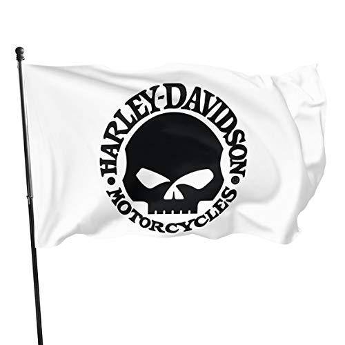 Harley Davidson Fahnen Flagge Flag Banner Polyester Material Gartenbalkon Gartendekoration im Freien 90X150cm