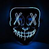 Máscara LED azul con 3 efectos de luz, fiesta temática Halloween, carnaval y disfraz unisex de KOH
