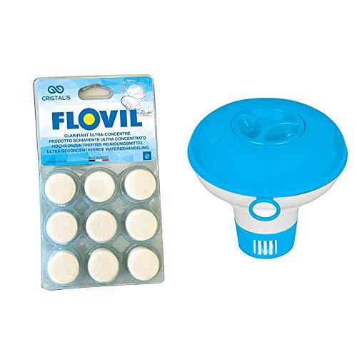 Flovil MD9295 Flocculante in Pastiglie Super Concentrato ad Alta Prestazione, Bianco, 14x2x25 cm & Intex 29040 Dispenser di Cl Piccolo, Colore Blu, I.24, 29040