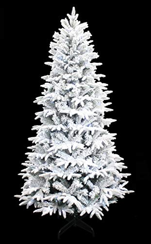 HOLIDAY STUFF Wonderland Spirit Spruce Flocked Christmas Tree pre-lit with Cool White LED Lights (7ft)