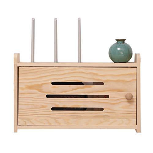 Household Necessities/kleine commode van hout, router, 8 vierkant, incl. punching van massief hout, router, draadloos, opbergdoos, wandhouder 25CM*25CM*10CM Geel