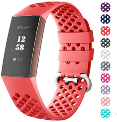 Fentace Armband Kompatibel mit Fitbit Charge 3 & 4 Armbänder Fitness Tracker, Sport Armband Silikon Ersatzarmband (Klein, rot)