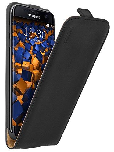 mumbi Echt Leder Flip Case kompatibel mit Samsung Galaxy S7 Edge Hülle Leder Tasche Case Wallet, schwarz