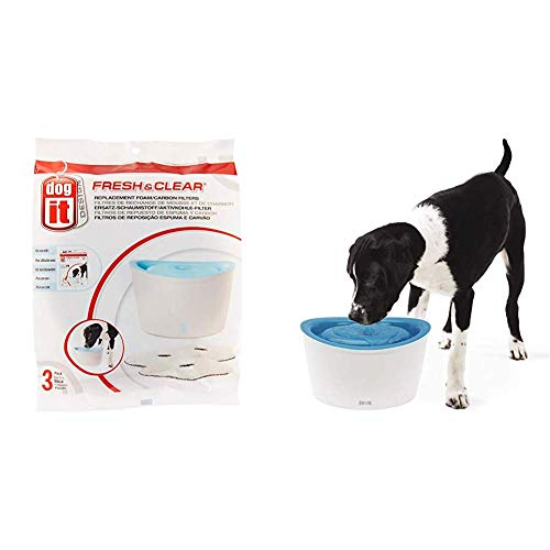 Dogit Fresh & Clear Drinking Fountain, Elevated Dog Water Dispenser with Zeus Fresh & Clear Elevated Dog and Cat Water Dispenser, Large Drinking Water Fountain