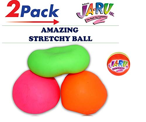 JA-RU Stretchy Balls Stress Relief (Pack of 2) Soft Stress Toys for Kids Pull / Stretch Stress Balls for Adults Anxiety Hand Therapy or Sensory Fidget Relaxing Toy  Plus 1 Ball   401-2p