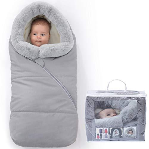 Orzbow Saco Carrito Bebe invierno saco silla paseo Universal saco capazo bebe - Térmico, Impermeable a Prueba de Viento Hasta -10° (Gris claro,12-24 meses)