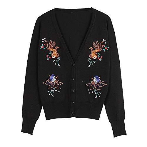 Dames V-hals Long-Sleeved Trui Vest Slim Dunne Goldfish Borduren Jas Trend, Zwart, s