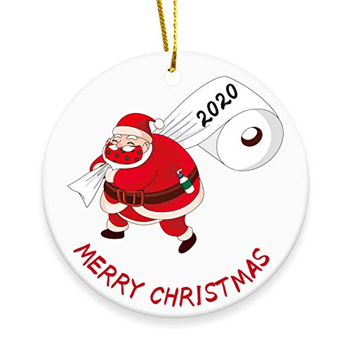 2020 Christmas Tree Ornament, Merry Christmas Santa Claus with Mask Toilet Paper Christmas Tree Hanging Decoration - 3 inch Circle Ceramic Double-Sided Printed Holiday Christmas Family & Friends Gift