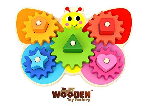 The Wooden Toy Factory - Juego de Mariposa con Engranajes - Juguete Educativo de Actividades para Niños Pequeños