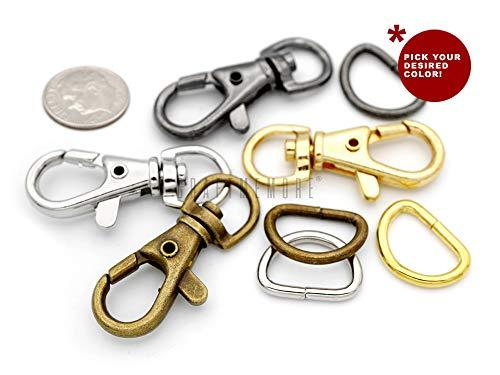 CRAFTMEMORE Curved Lobster Clasps Swivel Clips Oval Snap Hook for Bag Landyard Craft 10 Pack PLOV 1 Inch, Gunmetal
