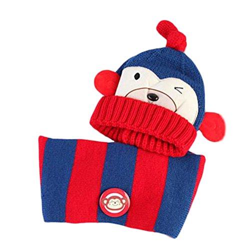 Mignon bébé d'hiver Kids Filles Garçons Chapeaux chapeau écharpe chapeaux oreille en peluche Protéger Gift Set-Bleu profond