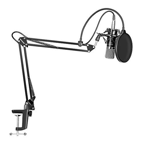 FKSDHDG 700 Micrófono de Condensador 3.5M Karaoke con Cable Micrófono de grabación Ajustable Suspensión Soporte de Brazo de Tijera con Soporte de Choque y Kit de Abrazadera de Montaje