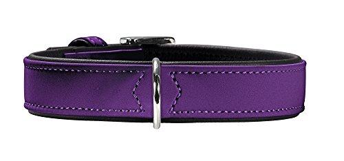 HUNTER SOFTIE Hundehalsband, Kunstleder, samtig, pflegeleicht, 45 (S-M), violett