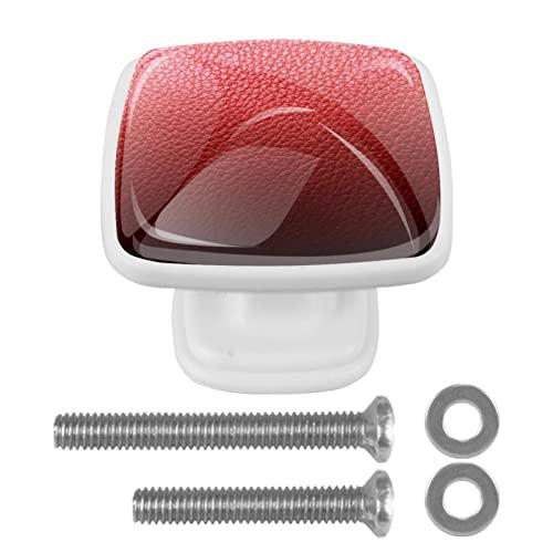 Pomos de cristal de cuero rojo para cajones de cómoda, tiradores de armario de cocina, perilla de gabinete de cristal de 3 cm para armario (paquete de 4)