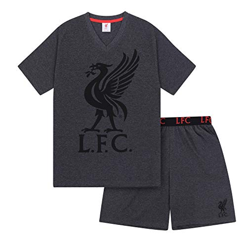 Liverpool FC - Herren Schlafanzug-Shorty - Offizielles Merchandise - Fangeschenk - Grau - L