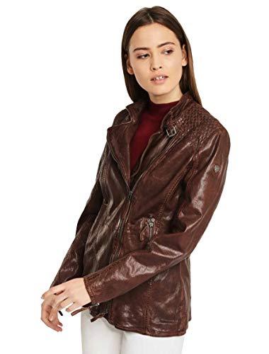 Gipsy Damen Lange Lederjacke Langjacke mit geflochtenen Lederstreifen und mit asymmetrischem Reißverschluss im Used Look - GGSaija LLAV in braun (Braun, S)