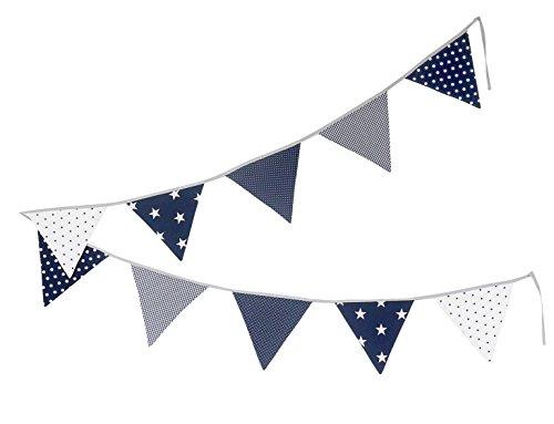 Guirnalda de banderines de ULLENBOOM  con estrellas azules (guirnalda de tela: 3,25 m; 10 banderines; decoración para la habitación de los niños; fiestas de bienvenida para bebés)