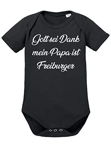 clothinx Gott Sei Dank, Mein Papa ist Freiburger, Lustiges Fussballmotiv Baby Body Bio Schwarz Gr. 68
