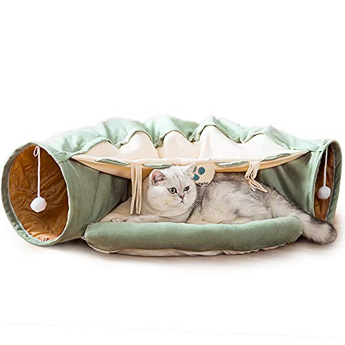DREAMSOULE 2-in-1 Cat Bed Play Tunnel and Mat for Pets Cats Dogs Rabbits and Pets Kittens for Home Foldable Soft Cat Tunnel Tubes Toys Pet Play Bed Indoor (Green)