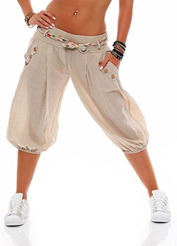 Malito Damen Pumphose in Unifarben | lässige Kurze Hose | Bermuda für den Strand | Haremshose - Pants 3416 (beige)
