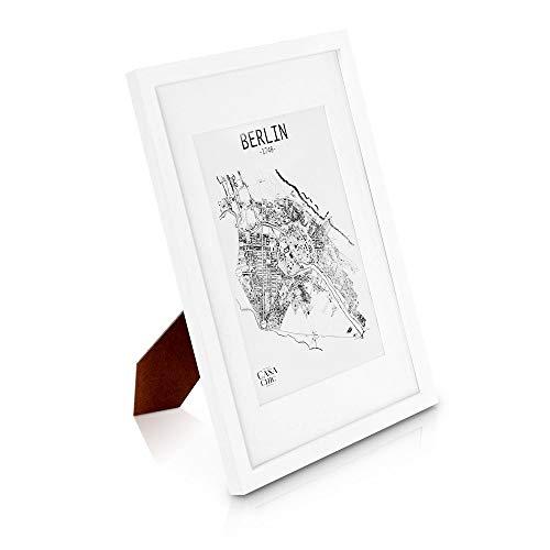 Classic by Casa Chic - Echtholz Bilderrahmen A3 - Weiß - mit DIN A4 Passepartout - Plexiglas - Rahmenbreite 2cm